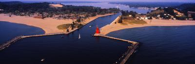 Aerial view of Holland Harbor Lighthouse, Holland, Michigan, USA