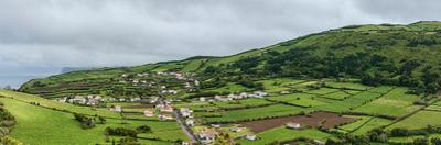 Aerial view of houses in a village, Faial Island, Azores, Portugal
