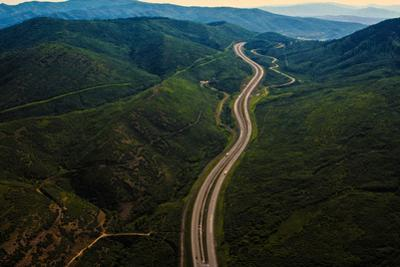 Aerial view of Interstate 80 (I-80), Utah, USA