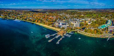 Aerial view of Lake Geneva, Walworth County, Wisconsin, USA