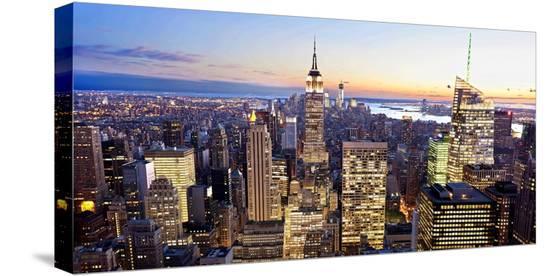 Aerial view of Manhattan, NYC-Vadim Ratsenskiy-Stretched Canvas Print