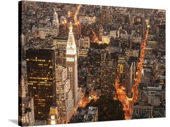 Aerial view of Manhattan with Flatiron Building, NYC-Michel Setboun-Stretched Canvas Print