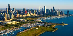 Aerial view of Museum Campus and skyline, Chicago, Cook County, Illinois, USA
