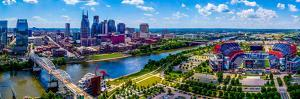 Aerial view of Nashville City and Cumberland River, Davidson County, Tennessee, USA