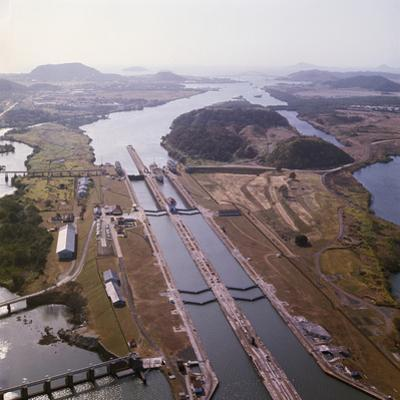 Aerial View of Panama Canal's Miraflores Locks