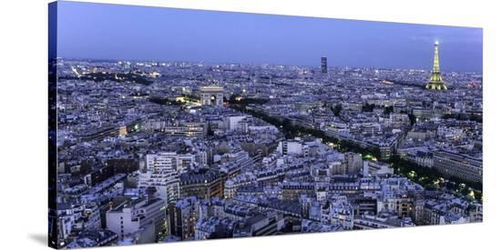 Aerial view of Paris at dusk-Michel Setboun-Stretched Canvas Print
