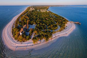 Aerial view of Sanibel Island Lighthouse, Sanibel Island, Lee County, Florida, USA
