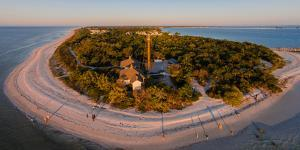 Aerial view of Sanibel Island Lighthouse, Sanibel Island, Lee County, Florida, USA