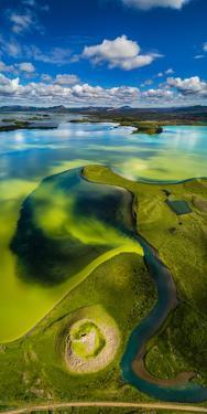 Aerial view of Skutustadagigar Pseudocrater, Lake Myvatn, Iceland. The craters were formed by st...