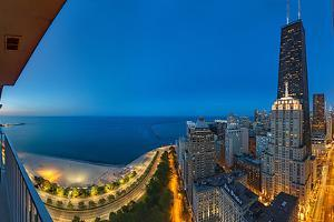 Aerial View of the Lake Shore Drive, John Hancock Tower, Lake Michigan, Chicago, Illinois, USA