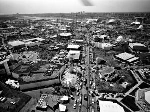 Aerial View of the New York World's Fair, Flushing Meadows Park, Queens, April 21, 1964