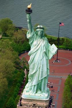 Aerial View of the Statue of Liberty and Grounds Below
