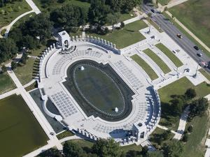 Aerial view of the US National World War II Memorial, Washington, D.C.