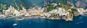 Aerial View of Towns, Amalfi, Atrani, Amalfi Coast, Salerno, Campania, Italy