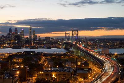 Aerial view of traffic on bridge, Philadelphia, Pennsylvania, USA