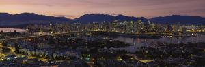 Aerial View of Vancouver Lit Up at Dusk, British Columbia, Canada
