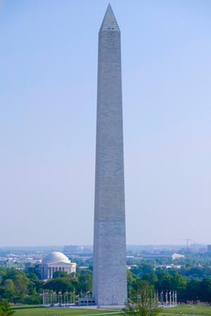 Aerial view of Washington Monument and Jefferson Memorial in spring in Washington D.C.