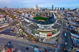 Aerial view of Wrigley Field, Chicago, Cook County, Illinois, USA