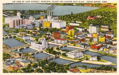 Aerial View, Quaker Oats Plant, Cedar Rapids, Iowa