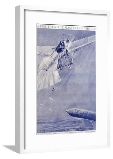 Aeroplane Airship Duel--Framed Giclee Print