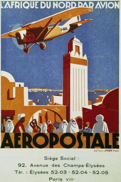 Aeropostale (Airmail), Air Links with North Africa, Billboard, France, 20th Century