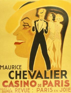 Affiche Pour La Revue Paris En Joie Au Casino De Paris Dans Laquelle Chante Maurice Chevalier, 1937
