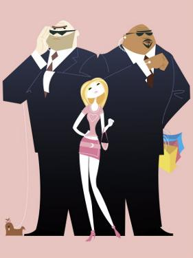 Affluent Woman with Bodyguards