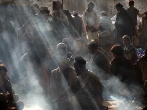 Afghan Men Take their Breakfast in a Tea Shop in Kabul, Afghanistan
