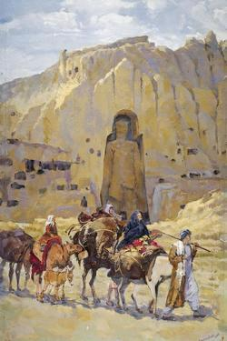 Afghan Nomad Family in Front of One of Two Buddhas of Bamiyan, 1950