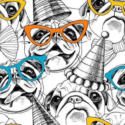 Seamless Pattern with Image of a Pug in Glasses and Party Hat. Vector Illustration. by Afishka