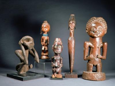 African Tribal Carved Figures L to R: Bakwa Luntu Tribe, Songye Tribe and Luba Tribe of Zaire