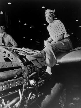"""African American Female Riveter Illustrating """"Rosie the Riveter"""", at Lockheed Aircraft Corp"""