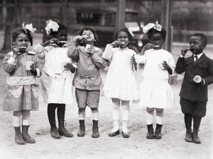African American First Graders Learn to Brush their Teeth in School, 1910