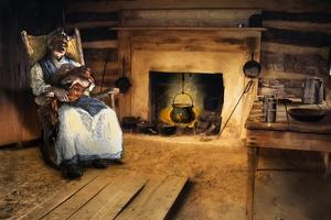 African-American Mother Rocking and Singing to Her Child in a Cabin