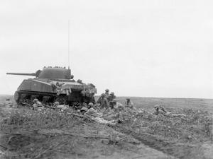 African American Soldiers Prepare to Advance with a Tank Along Empress Augusta Bay, Bougainville