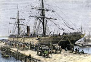 African-American Stevedores Loading Cotton on a Ship in Charlestown, South Carolina, c.1870