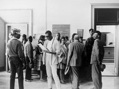 African Americans Wait at the Circuit Court to Register to Vote in Mississippi, 1960s