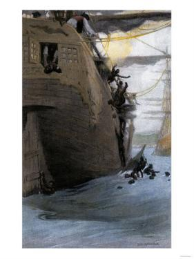 African Captives Leaping Off a Slave-Ship Near the Coast of Africa, 1700s