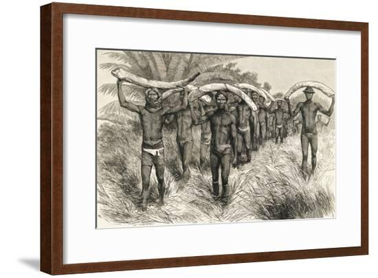 African Workers Carrying Elephant Tusks--Framed Giclee Print