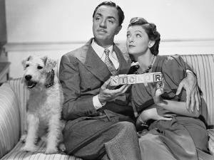 After the Thin Man by W.S. Van Dyke with Myrna Loy, William Powell, the dog Asta, 1936 (b/w photo)