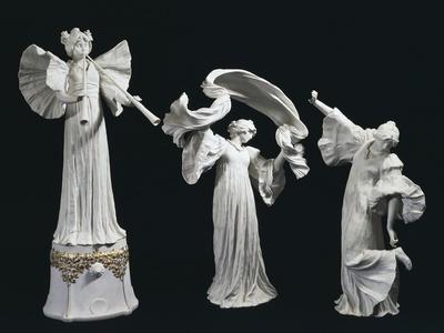 Three Art Nouveau Style Statuettes of Female Figures of Triumph