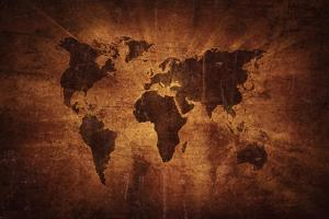 Aged World Map on Dirty Paper