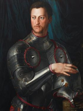 Portrait of Grand Duke of Tuscany Cosimo I De' Medici (1519-157) in Armour, Ca 1545 by Agnolo Bronzino