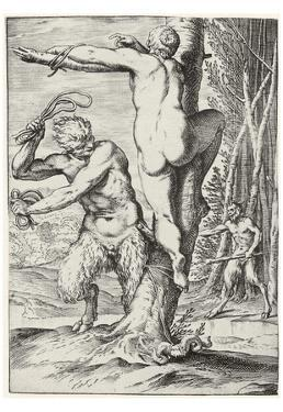 """Agostino Carracci (Consequence of the so-called """"Lascivie"""" Satyr, a nymph whip)"""