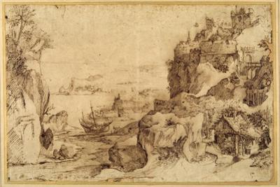 Downward View of a Fortified Harbour by Agostino Carracci