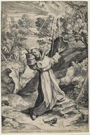 Saint Francis Recieving the Stigmata, 1586 by Agostino Carracci