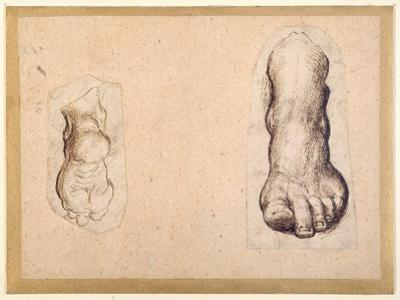 Two Studies of a Foot in Foreshortening by Agostino Carracci