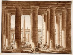 The Colonnade of St. Peter's Square, Seen from Outside, 1833 by Agostino Tofanelli