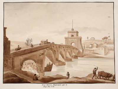The Restoration of Ponte Milvio by Pope Pius Vii, 1833 by Agostino Tofanelli