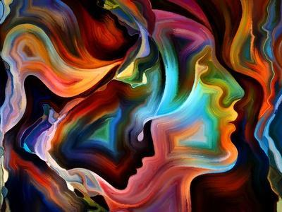 Forces of Nature Series. Arrangement of Colorful Paint and Abstract Shapes on the Subject of Modern